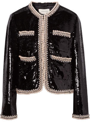 Gucci Faux Pearl And Crystal-trimmed Sequined Crepe Jacket - Black