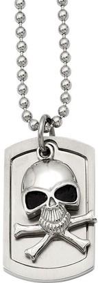 "Steel By Design Men's Skull Dog Tag Pendantw/ 24"" Chain"