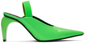 Misbhv Green Vinyl Slingback Slicer Pump Heels