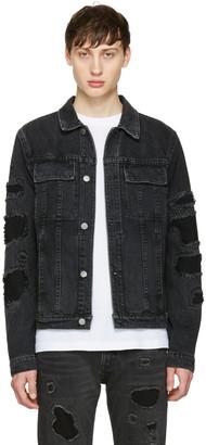 Helmut Lang Black Mr 87 Destroy Denim Jacket $390 thestylecure.com