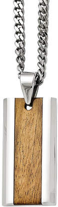 FINE JEWELRY Mens Stainless Steel Wood Inlay Pendant