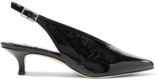 Tibi Lia Patent-leather Slingback Pumps - Black