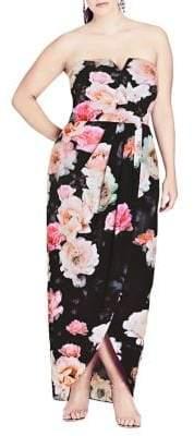 City Chic Plus Tulip Floral Maxi Gown