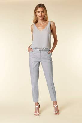 Wallis Womens Grey Piped Belted Cigarette Trouser - Grey