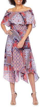 Rabbit Rabbit Rabbit DESIGN Design Off Shoulder Sleeve Patchwork Fit & Flare Dress
