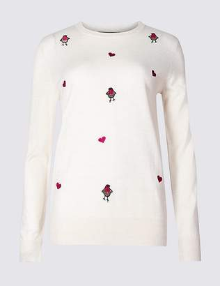 Marks and Spencer Embroidered Robins Christmas Jumper