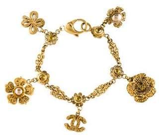 Chanel Faux Pearl & Strass Charm Bracelet gold Faux Pearl & Strass Charm Bracelet