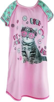 Rene Rofe Girl's Love Peace Cat Power Sleep Shirt, XS