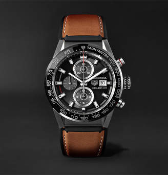 Tag Heuer Carrera Automatic Chronograph 43mm Brushed-Steel And Leather Watch