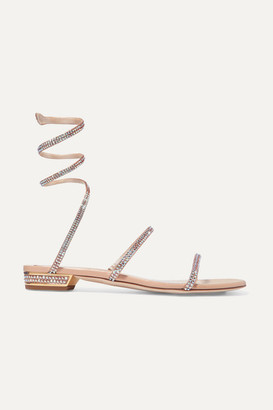 Rene Caovilla Cleo Crystal-embellished Metallic Leather Sandals - Gold