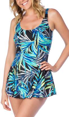 Maxine Of Hollywood Women's Jungle Night Swim Dress One Piece Swimsuit