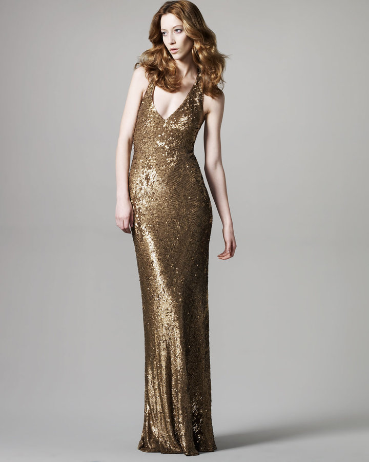 David Meister Signature Sequined Halter Gown