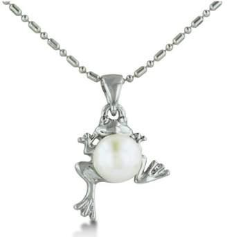 SuperJeweler Frog Shaped Freshwater Pearl Pendant [Jewelry]