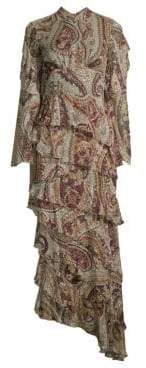 Etro Paisley Tier Ruffle Midi Gown