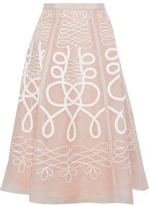 Temperley London Appliquéd Silk-Organza Skirt