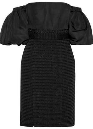 Jonathan Simkhai Off-the-shoulder Silk-faille And Cotton-blend Tweed Dress - Black