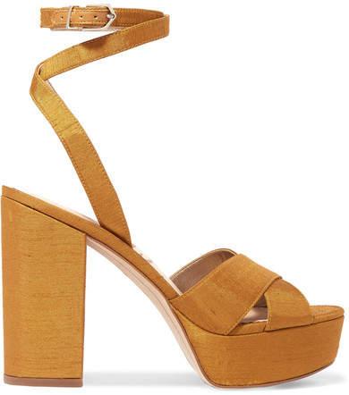 Sam Edelman - Mara Dupion Platform Sandals - Mustard