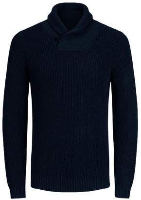 Fine Gauge Knit Shawl Collar Jumper