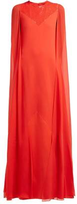 Givenchy Sequinned Cape Sleeve Wool Crepe Gown - Womens - Red