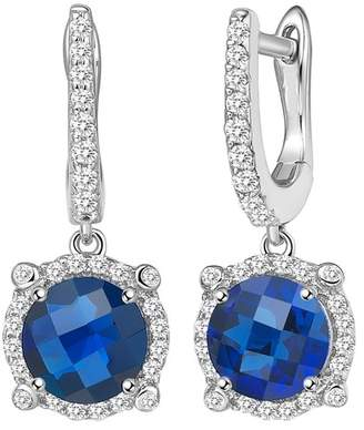 Lafonn Platinum Plated Sterling Silver Simulated Diamond & Lab-Grown Blue Sapphire Drop Earrings
