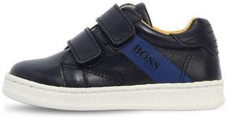 HUGO BOSS Logo Stripe Leather Strap Sneakers