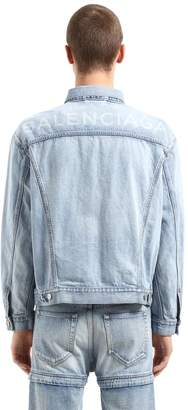 Balenciaga Oversized Back Logo Cotton Denim Jacket