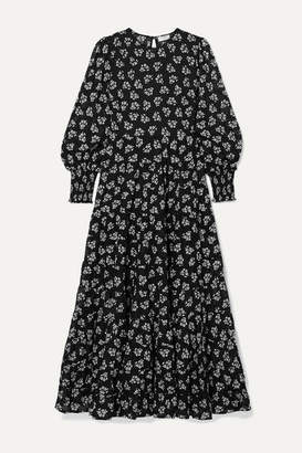 Rixo Pip Floral-print Tiered Fil Coupé Cotton Maxi Dress - Black