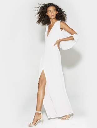 Halston CAPE SLEEVE DEEP V NECK OPEN BACK GOWN