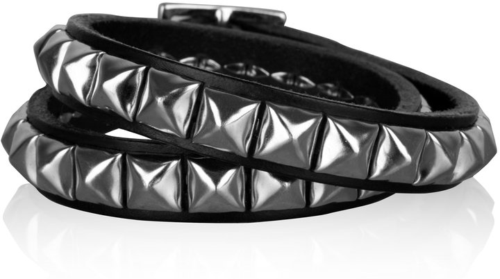 One Grey Day Black Nailhead Leather Strap Bracelet