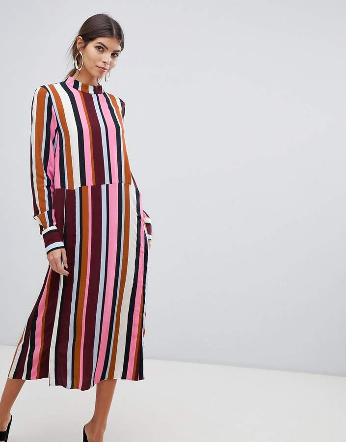 Y.A.S striped high neck dress with popper detail