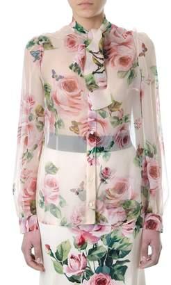 Dolce & Gabbana Roses Printed Silk Shirt