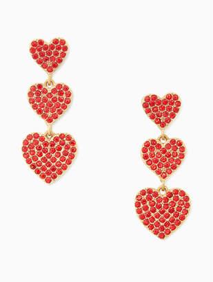Kate Spade YOURS TRULY pave heart triple drop earrings