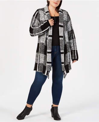 Style&Co. Style & Co Plus Size Jacquard Plaid Open-Front Cardigan, Created for Macy's