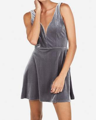 Express Velvet Deep V-Wire Skort Dress