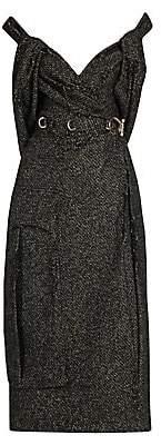 Prada Women's Knickerbocker Tweed Distressed Off-The-Shoulder Dress