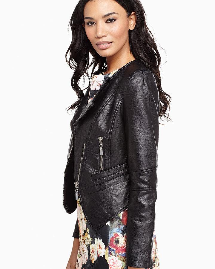 Raison D'etre Asymmetric-Zip Faux Leather Jacket, Black 3