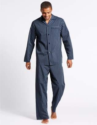 Marks and Spencer Cotton Blend Striped Pyjama Set
