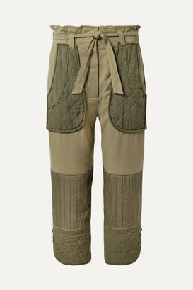 Sea O'keeffe Cropped Cotton-twill And Quilted Canvas Tapered Pants - Army green