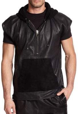 G Star Perforated Short-Sleeve Leather Hoodie