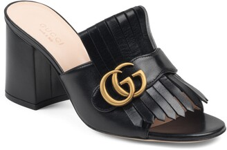 Gucci Marmont Kiltie Fringe Slide Sandal