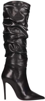Dei Mille Black Leather High Boots