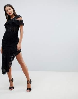 Asos DESIGN cold shoulder asymmetric lace bodycon midi dress