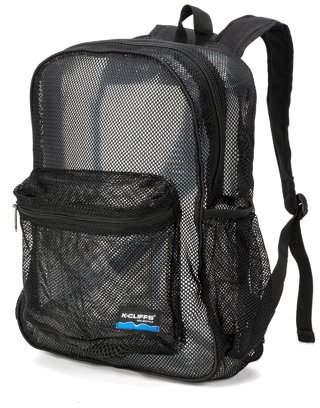 K-Cliffs Mesh Backpack Heavy Duty Student Net Bookbag Quality Simple Netting School Bag Security See Through Daypack Black