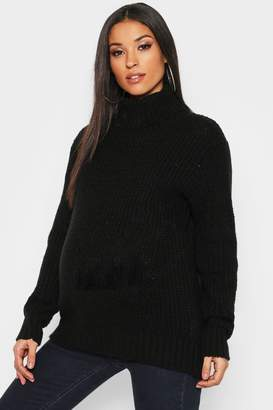 boohoo Maternity Soft Knit Roll Neck Jumper