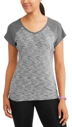 N.Y.L. Sport Women's Active Vneck Short Sleeve Spacedye Performance Baseball T-Shirt