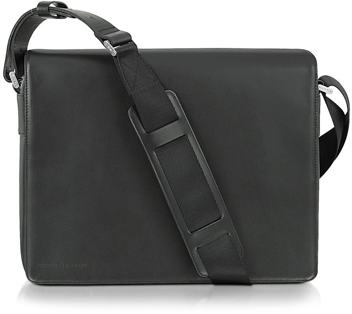 designer shoulder bags for men yjea  Porsche Design Black Leather Messenger Bag