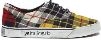 Palm Angels 'Distressed Tartan' colourblock patchwork twill sneakers