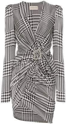 Alexandre Vauthier V-neck houndstooth print silk blend mini dress