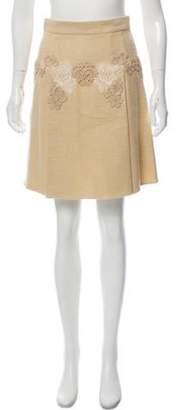 Dolce & Gabbana Lace-Trimmed A-Line Skirt Beige Lace-Trimmed A-Line Skirt