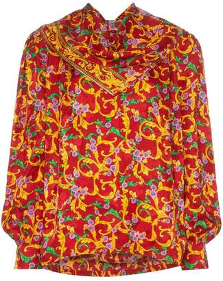 PushBUTTON floral print draped silk blouse